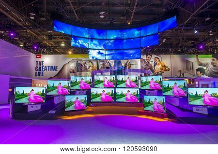 LAS VEGAS - JAN 08 : The TCL booth at the CES show held in Las Vegas on January 08 2016 CES is the world's leading consumer-electronics show.