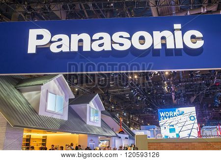 LAS VEGAS - JAN 08 : The Panasonic booth at the CES show held in Las Vegas on January 08 2016 CES is the world's leading consumer-electronics show.