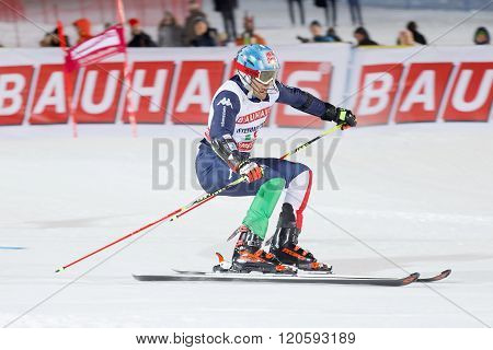 Skier Stefano Gross Skiing At A Slalom Event