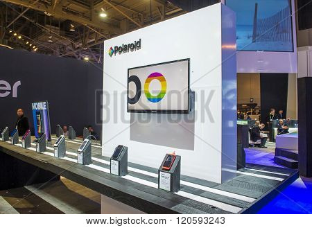 LAS VEGAS - JAN 08 : The Polaroid booth at the CES show held in Las Vegas on January 08 2016 CES is the world's leading consumer-electronics show.