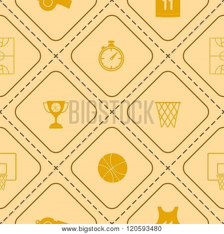 Seamless pattern with basketball icons