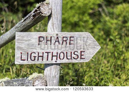 Lighthouse sign in Nova Scotia in Canada