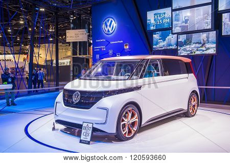 LAS VEGAS - JAN 08 : The Volkswagen booth at the CES Show in Las Vegas Navada on January 08 2016. CES is the world's leading consumer-electronics show.