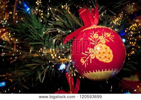 Red Christmas Ball Retro Ornament On Christmas Tree