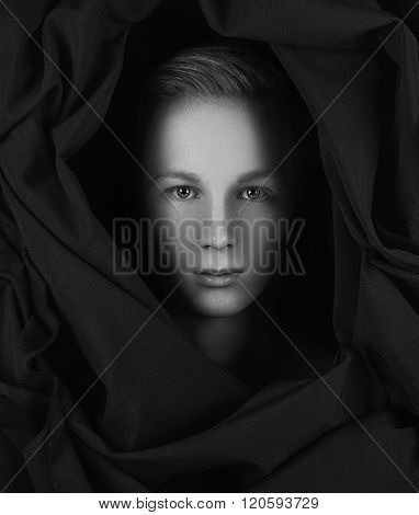 Beauty men in studio black and white
