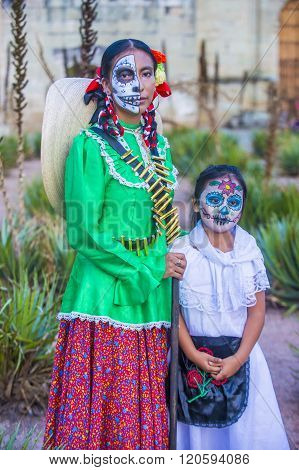 OAXACA MEXICO - NOV 02 : Unidentified participants on a carnival of the Day of the Dead in Oaxaca Mexico on November 02 2015. The Day of the Dead is one of the most popular holidays in Mexico