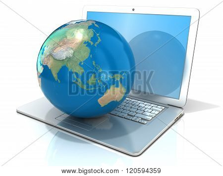 Laptop with illustration of earth globe Asia and Oceania view. 3D rendering isolated on white background