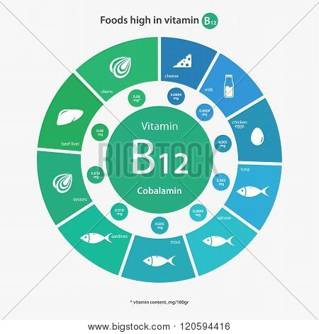 Foods high in vitamin B12.