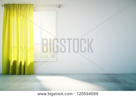 Blank White Wall Yellow Curtain
