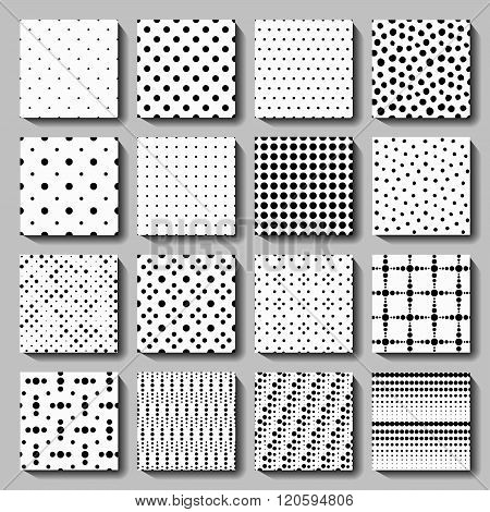 Unusual black white polka dot pattern set