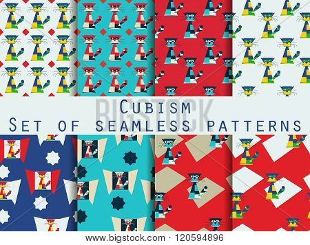 Cat In The Cubist Style. Modern Art. Set Of Seamless Patterns. Vector.