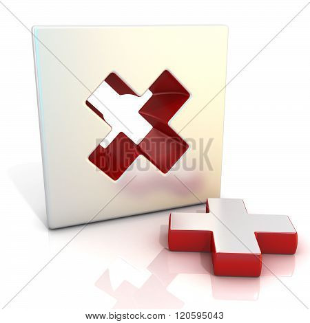 Multiply sign. 3D render illustration isolated on white. Side view
