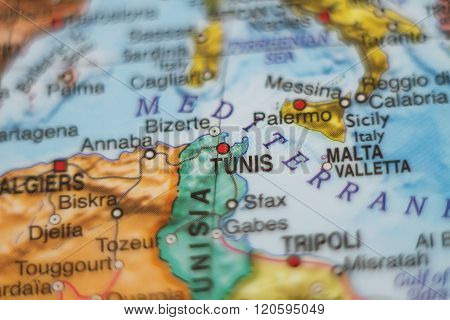 Tunisia Country Map .