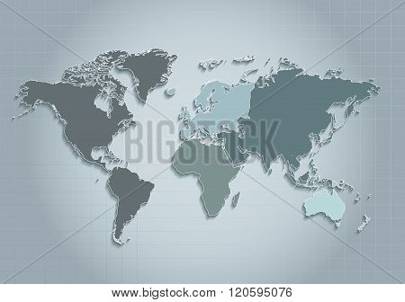 world map continents blue raster - Individual separate continents - Europe, Asia, Africa, America, A