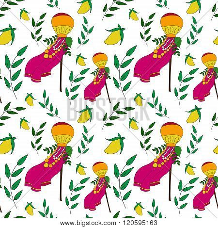 Happy Gudi Padwa Vector Seamless Pattern