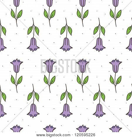 Hand drawn purple bellflower seamless pattern background.