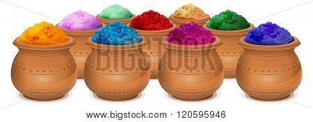 Ceramic pot of paint holi. Festival of colors Holi