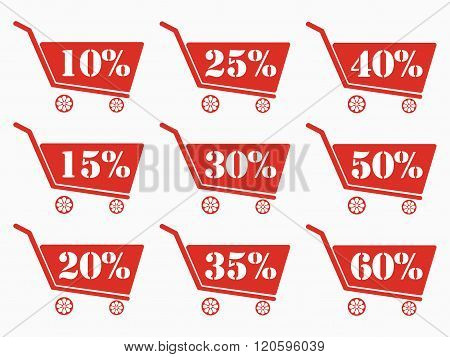 Shopping Carts With A Discount. Cart Icon. Online Shopping Icon. The Red Shopping Carts. From 10 To