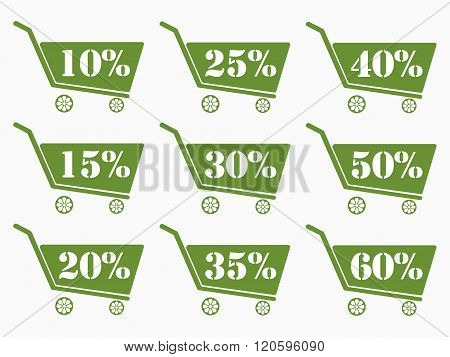 Shopping Carts With A Discount. Cart Icon. Online Shopping Icon. The Green Shopping Carts. From 10 T