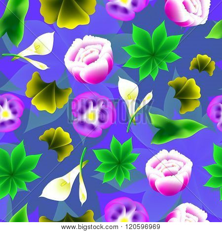 Seamless Floral Background. Bright, Volume Shape