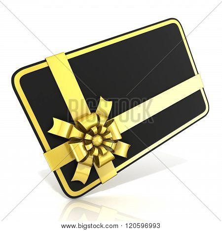 Black blank gift card with golden ribbon. 3D render illustration isolated on white. Side angled view
