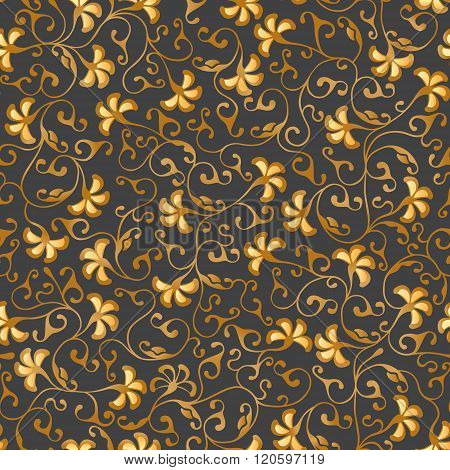 Gold floral seamless lace. Vector pattern