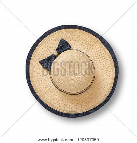 Beach hat with ribbon and bow on white background top view isolated
