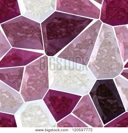 Pink Purple Burgundy Marble Irregular Plastic Stony Mosaic Seamless Pattern Texture Background