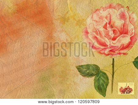 Bright watercolor background texture with sheet music, a Victorian rose and a place for text, with a postage stamp with grapes that says 'France, 5 centimes' (former French currency)