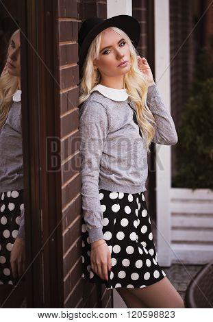 Portrait Of Beautiful Blonde Woman Outdoors