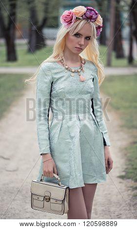 Pretty Blonde Girl In Posing Outdoors