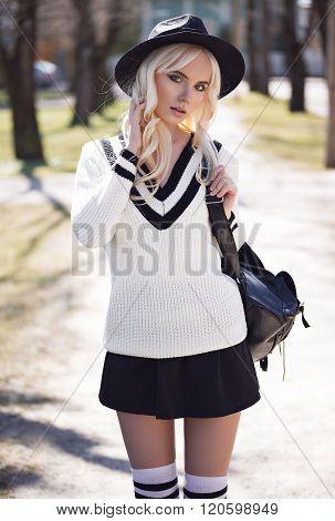 Portrait Of Blonde Model Outdoors