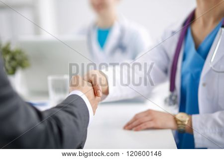 Doctor and Patient isolated on white background