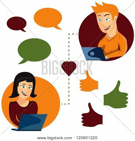 Vector Illustration Of Online Dating Man And Woman App Icons In Cartoon Style