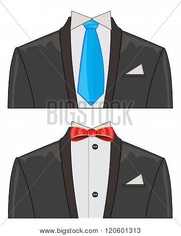 Two suits on white background