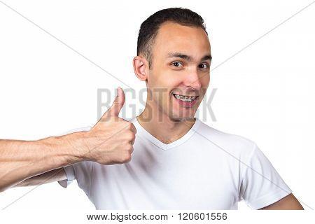Happy man with brackets