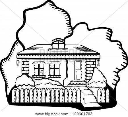 Cartoon House Illustration . Concept Of Graphic Clipart Work