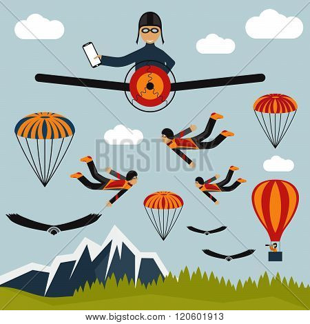 Extreme Selfie Pilot Flat Design Illustration . Concept Of Graphic Clipart Work