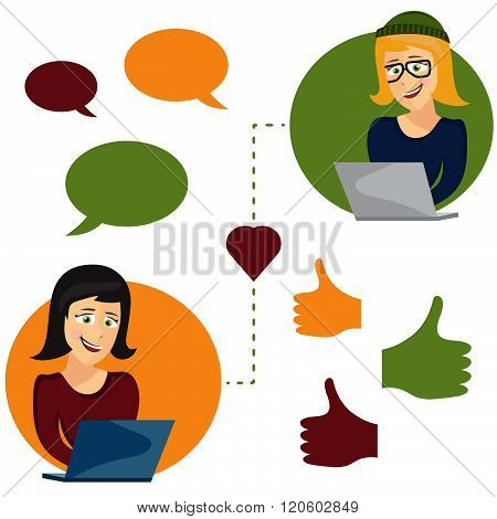 Vector Illustration Of Online Dating Woman And Woman App Icons In Cartoon Style