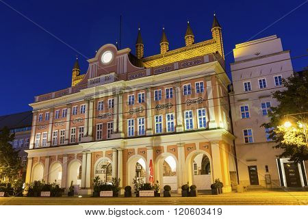 ROSTOCK, MECKLENBURG-VORPOMMERN, GERMANY - OCTOBER 10, 2015:  City Hall of Rostock in Germany in Europe