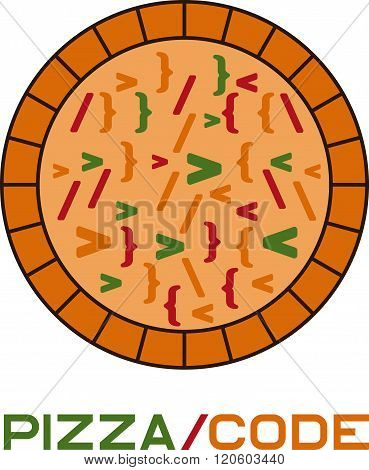 Pizza Code Concept Vector Design Template . Concept Of Graphic Clipart Work