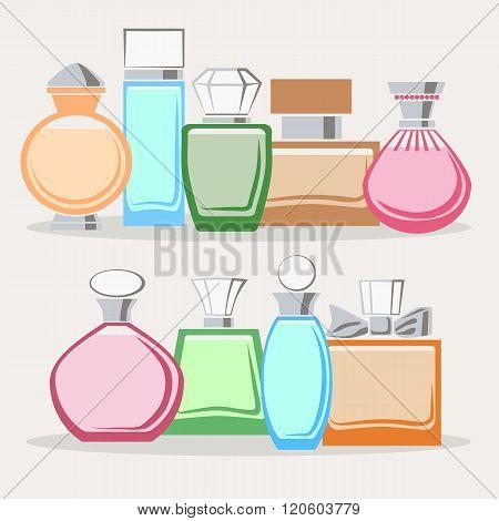 Set Of Colorful Perfume Bottles
