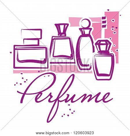 Set Of Hand Drawn Perfume Bottles