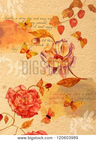 A vintage style collage on distressed paper made of watercolor drawings of butterflies Victorian roses plant branches and some scraps of text