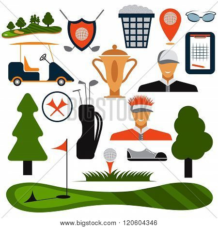 Flat Design Golf Icon Set Vector  . Concept Of Graphic Clipart Work