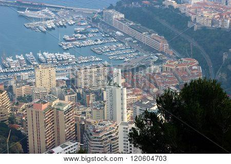 Aerial View Of Skyscrapers And Port Hercule In Monaco