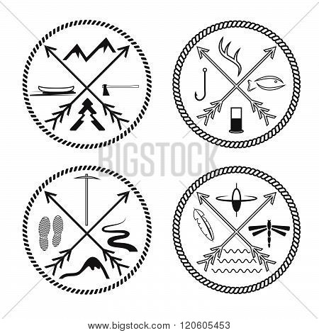 Adventure Vintage Labels With Rope And Cross Arrows