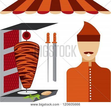 Flat Design Doner Kebab Elements And Chef