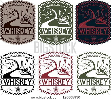 Vintage Vector Labels Of Whiskey With Copper Whiskey Still And Mountains