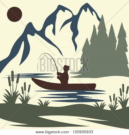 Vintage Vector Illustration Of Fishing Theme . Concept Of Graphic Clipart Work